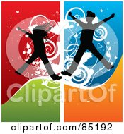 Royalty Free RF Clipart Picture Of Boy And Girl Silhouettes Jumping Over A Grungy Colorful Background