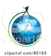 Royalty Free RF Clipart Picture Of A Green Girl Silhouette Jumping Over A Blue Grid Globe by MilsiArt #COLLC85193-0110