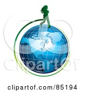 Royalty Free RF Clipart Picture Of A Green Girl Silhouette Running Over A Blue Grid Globe by MilsiArt