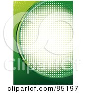 Royalty Free RF Clipart Picture Of A Green Curve Background With Halftone Dots Over White