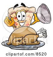 Clipart Picture Of A Slice Of Pizza Mascot Cartoon Character Serving A Thanksgiving Turkey On A Platter by Toons4Biz