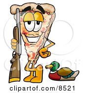 Slice Of Pizza Mascot Cartoon Character Duck Hunting Standing With A Rifle And Duck