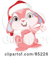 Royalty Free RF Clipart Illustration Of A Cute Pink Christmas Bunny Wearing A Santa Hat And Presenting by yayayoyo