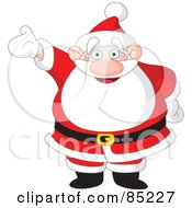 Royalty Free RF Clipart Illustration Of A Happy Santa Holding One Arm Up