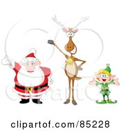 Royalty Free RF Clipart Illustration Of A Digital Collage Of A Happy Santa Reindeer And Elf