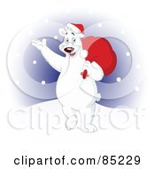 Waving Christmas Polar Bear Carrying A Bag Over His Shoulder And Walking In The Snow