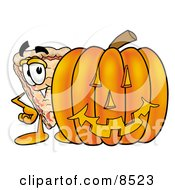 Slice Of Pizza Mascot Cartoon Character With A Carved Halloween Pumpkin