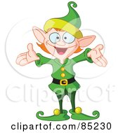 Royalty Free RF Clipart Illustration Of An Energetic Christmas Elf In A Green Uniform Holding His Arms Out