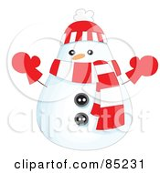 Royalty Free RF Clipart Illustration Of A Rounded Christmas Snowman Wearing A Hat Scarf And Mittens by yayayoyo