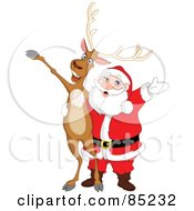 Royalty Free RF Clipart Illustration Of A Reindeer And Santa Singing And Holding Their Arms Out