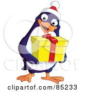Royalty Free RF Clipart Illustration Of A Cute Christmas Penguin Carrying A Yellow Gift by yayayoyo