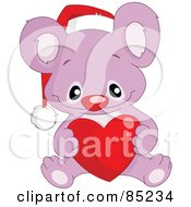 Royalty Free RF Clipart Illustration Of A Cute Purple Christmas Koala Wearing A Santa Hat And Holding A Heart