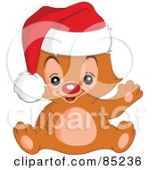 Royalty Free RF Clipart Illustration Of A Red Nosed Christmas Teddy Bear Waving And Wearing A Santa Hat