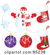 Royalty Free RF Clipart Illustration Of A Digital Collage Of A Rounded Christmas Snowman Snowflakes Ornaments And Stockings by yayayoyo