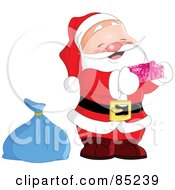 Royalty Free RF Clipart Illustration Of A Cute Jolly Santa Holding A Pink Gift