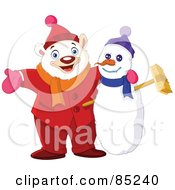 Royalty Free RF Clipart Illustration Of A Winter Polar Bear With His Arm Around A Snowman by yayayoyo