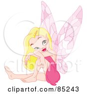 Royalty Free RF Clipart Illustration Of A Beautiful Blond Pixie In A Pink Dress by yayayoyo