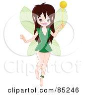 Pretty Brunette Pixie In A Green Dress