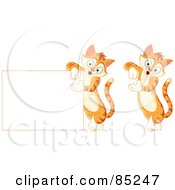 Royalty Free RF Clipart Illustration Of A Digital Collage Of Cute Striped Ginger Cats Leaning And Presenting by yayayoyo