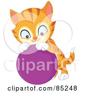 Royalty Free RF Clipart Illustration Of A Cute Striped Marmalade Cat Playing With A Purple Ball by yayayoyo