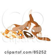 Royalty Free RF Clipart Illustration Of A Basset Hound And Ginger Kitten Cuddling by yayayoyo