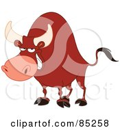 Royalty Free RF Clipart Illustration Of A Strong Red Bull Grinning by yayayoyo