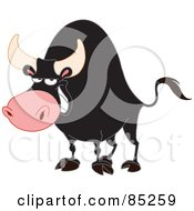 Strong Black Bull Grinning
