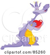 Romantic Purple Dragon Holding A Red Heart
