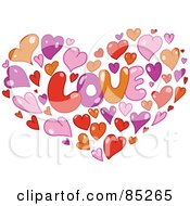 Royalty Free RF Clipart Illustration Of Orange Pink Purple And Red Hearts Forming A Heart Around The Word LOVE