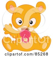 Royalty Free RF Clipart Illustration Of A Cute Baby Bear Sucking On A Pacifier And Waving