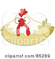 Royalty Free RF Clipart Illustration Of A Surprised Hen Nesting