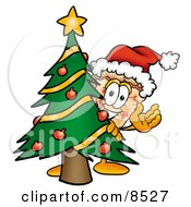 Slice Of Pizza Mascot Cartoon Character Waving And Standing By A Decorated Christmas Tree