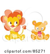 Royalty Free RF Clipart Illustration Of A Digital Collage Of A Baby Lion Sucking His Thumb And A Baby Bear Sucking A Pacifier