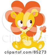Royalty Free RF Clipart Illustration Of A Cute Baby Lion Sucking His Thumb by yayayoyo