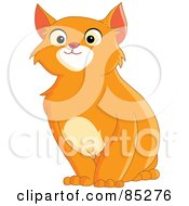 Royalty Free RF Clipart Illustration Of A Handsome Orange Cat Sitting by yayayoyo
