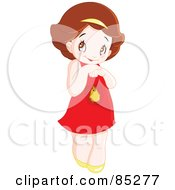 Royalty Free RF Clipart Illustration Of A Cute Bashful Brunette Girl In A Red Dress by yayayoyo