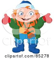 Royalty Free RF Clipart Illustration Of A Happy Boy Dressed In Winter Gear Holding His Arms Open