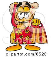 Slice Of Pizza Mascot Cartoon Character In Orange And Red Snorkel Gear