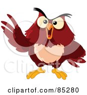 Royalty Free RF Clipart Illustration Of A Grouchy Brown Owl Holding Up A Wing by yayayoyo