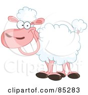 Royalty Free RF Clipart Illustration Of A Happy Grinning Sheep