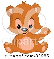 Royalty Free RF Clip Art Illustration Of A Waving Adorable Teddy Bear by yayayoyo
