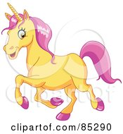 Royalty Free RF Clipart Illustration Of A Yellow Unicorn With Pink Hooves And Hair