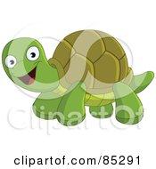 Royalty Free RF Clipart Illustration Of A Cute Happy Green Tortoise by yayayoyo