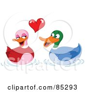 Royalty Free RF Clipart Illustration Of Two Adorable Ducks In Love Under A Red Heart by yayayoyo