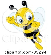 Friendly Cute Bee Waving And Flying