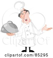 Royalty Free RF Clipart Illustration Of A Chubby And Happy Male Chef Shrugging And Holding A Platter