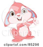 Royalty Free RF Clipart Illustration Of An Adorable Presenting Pink Bunny Rabbit by yayayoyo #COLLC85296-0157