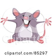 Royalty Free RF Clipart Illustration Of A Happy Energetic Mouse Holding His Arms Open by yayayoyo