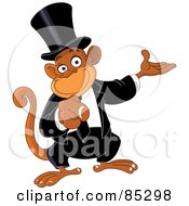 Royalty Free RF Clipart Illustration Of A Pointing Monkey Businessman by yayayoyo