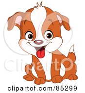 Royalty Free RF Clipart Illustration Of A Cute Brown And White Puppy Dog Sitting by yayayoyo